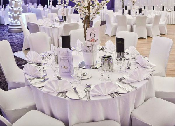 wedding table set up in white